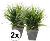 2x Groene kunst grasplant in zinken pot 30 cm - Kunstplanten