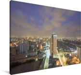 Paarse lucht boven Karachi Canvas 90x60 cm - Foto print op Canvas schilderij (Wanddecoratie woonkamer / slaapkamer)