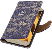 Wicked Narwal | Lace bookstyle / book case/ wallet case Hoes voor Samsung Galaxy A3 2017 A320F Blauw