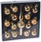15x Gouden kunststof kerstballen en piek 3 cm - Glans/mat/glitter - Onbreekbare kerstballen plastic - Kerstboomversiering goud