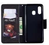 Let op type!! Gekleurde tekening patroon horizontale Flip lederen case voor Samsung Galaxy A40  met houder & kaartsleuven & portemonnee (Bear)