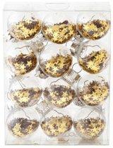 Cosy @ Home kerstbal transparant goud sterren set 12 kleine ballen 3 cm diameter