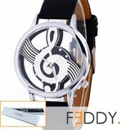 Horloge met muzieknoot zwart + extra batterij + doosje