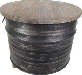 HSM Collection - Salontafel Drum - zwart/grey wash - ijzer/teak