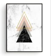 Postercity - Design Canvas Poster 4 Driehoeken Marmer / Muurdecoratie / 40 x 30cm / A3