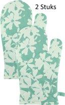 Stevige & Dikke Katoenen Ovenwant, Flowers - Groen / Wit 18 x 30 cm - 2 stuks