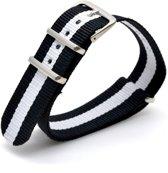 Premium Black White - Nato strap 20mm - Horlogeband Zwart Wit + luxe pouch