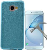 Teleplus Samsung Galaxy A810 2016 Glitter Custom Made Silicone Case Blue + Glass Screen Protector hoesje