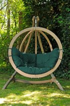 Amazonas Globo Chair Hangstoel - Weerbestendige Groene kussens + Luxe Houten Standaard