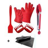 Barbecue Set Met Tang, Bakkwast, Vlees Klauwen, Hittebestendige Handschoenen en een GRATIS BBQ Mat - Accessoires - Rood