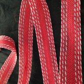 Jute rood met witte stitch, 25 mm x 10 meter