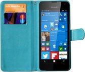 Luxe Book Wallet Case met standaard en draaifunctie, fotos maken zonder de telefoon uit het hoesje te halen, alle functies blijven toegankelijk, blauw , merk i12Cover