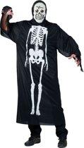 Verkleedpak kleed met skelet tekening en masker volwassene Skeleton Dress One Size - Carnavalskleding