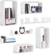 relaxdays 7-delige wandbox set - wandboard - keukenrek - wandplank - wit