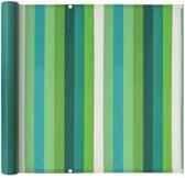 vidaXL Balkonscherm 90x600 cm oxford stof streep groen