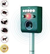 Adge - Ultrasone Kattenverjager. Werkt op zonne-energie met oplaadbare batterijen (incl). Verdrijft ongedierte, katten, honden, ratten, muizen, vossen, vleermuizen, wasberen en steenmarters. 100% Waterdicht -  Met GRATIS USB Charger