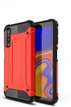 Teleplus Samsung Galaxy A30s Case Dual Layer Tank Cover Red hoesje