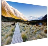 Pad naar de bergen Aluminium 120x80 cm - Foto print op Aluminium (metaal wanddecoratie)