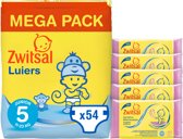 Zwitsal Luiers Maat 5 & Billendoekjes Senstive - 54 luiers & 285 doekjes - Voordeelverpakking