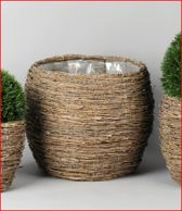 Rasteli Bamboe rieten mand met binnenhoes D 25 H 24 Diam. opening 19 cm