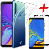 Transparant Hoesje voor Samsung Galaxy A9 (2018) Case Siliconen TPU Soft Gel + Screenprotector Full-Screen Gehard Glas Tempered Glass van iCall