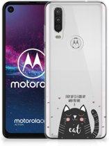 Telefoonhoesje met Naam Motorola One Action Cat Good Day