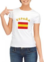 Wit dames t-shirt met vlag van Spanje L