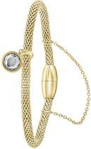 Donna Mae - Stalen armband mesh goldplated met kristal
