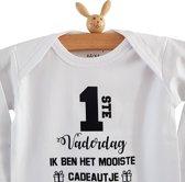 Rompertje baby tekst cadeau papa |  eerste 1ste Vaderdag ik ben het mooiste cadeautje | Lange mouw | wit zwart | maat 62-68 | mooiste cadeautje kind liefste lief leukste mijn is de allerbeste allerliefste i love van de hele wereld papa's voor kind