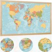 YOUR ADVENTURE Vintage Kurk Wereldkaart Prikbord (60 x 40 cm) - Wereldkaart Kurk in Houten Lijst met 20 Markeer Vlaggetjes - Prikbord Memobord - Woondecoratie Accessoires - World Map Cork
