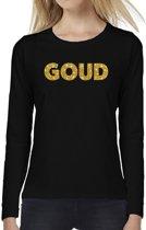 GOUD glitter tekst t-shirt long sleeve zwart voor dames- zwart shirt met lange mouwen en goud bedrukking voor dames 2XL