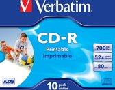 Verbatim 43325 CD-R AZO Wide Inkjet Printable Schijven - 10 Stuks / Jewelcase