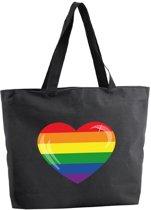 Regenboog hart shopper tas - zwart - 47 x 34 x 12,5 cm - boodschappentas / strandtas