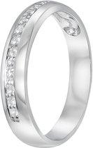 Lucardi - Zilveren ring rhodiumplated met zirkonia