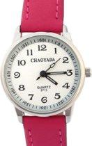 Horloge- 30 mm- Midden roze- Kunstleer