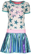 B-Nosy Meisjes jurken B-Nosy Girls panther star dress with skater ecru 134/140