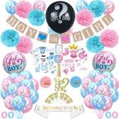 XXL Gender reveal party decoratie set incl. fotoprops, caketopper, confetti ballonnen en zwarte ballon - kraamfeest geboorte kind versiering feestpakket - geslachtsbepaling baby jongen of meisje - boy or girl - geslacht onthullen