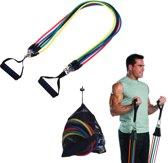 XL Fitness Elastiek Set - Resistance Power Band Tube - Stretch Fitnessbanden / Weerstandskabel