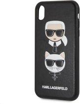 Zwart Karl Lagerfeld Backcover hoesje voor Apple iPhone XR - Embossed PU