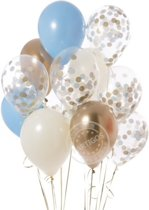 Luxe Ballonnenset Blauw Goud Wit Confetti - 12 Stuks - Helium Ballonnen Party Feest Decoratie