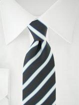 Stropdas zwart/wit/blauw strepen