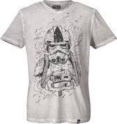 Star-Wars-T-shirt-met-korte-mouw-grijs - Maat L