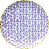 Tokyo Design Studio Star/Wave Plate 25.7x3cm Purple/Yellow Rim