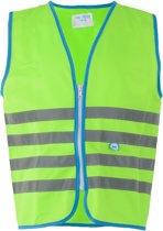 Wowow Veiligheidshesje kind met rits EN 1150 - Fun Fietsjas  - Maat S  - Unisex - groen/blauw/zilver