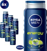 NIVEA MEN Energy Douchegel - 6 x 500 ml - Voordeelverpakking
