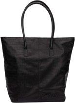 Zebra Trends Natural Bag Kartel met Rits - CROCO - Zwart