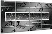 Glasschilderij Modern | Grijs, Zwart, Wit | 160x80cm 4Luik | Foto print op Glas |  F004858