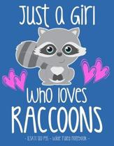 Just a Girl Who Loves Raccoons: School Notebook Animal Lover Gift 8.5x11 Wide Ruled