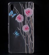 Roses and Butterflies Tpu silicone hoesje Sony Xperia M4 Aqua