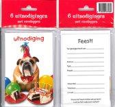 12 Uitnodigingskaartjes met envelop - Hond taart - 9 x 13.5 cm